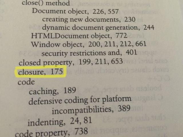 2002 index of 'The Definitive Guide'. 'Closure' refers to one page.
